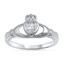 Silver Claddagh Ring - Clear CZ - $4.48