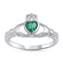 Silver Claddagh Ring - Emerald CZ - $4.98