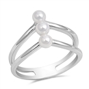 Silver CZ Ring - Triple Pearl - $9.11