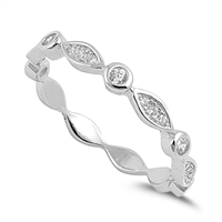 Silver CZ Ring - Marquis and Circle - $4.06