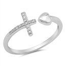 Silver CZ Ring - Cross & Heart - $3.30