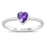 Silver CZ Ring - Heart - $3.19