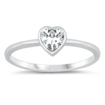 Silver CZ Ring - Heart - $3.25