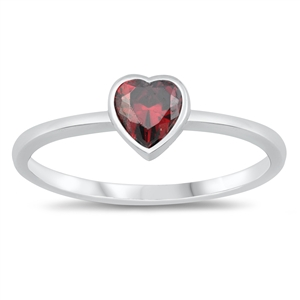Silver CZ Ring - Heart - $3.36