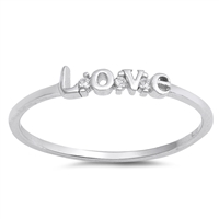 Silver CZ Ring - Love - $2.38