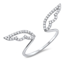 Silver CZ Ring - Angel Wings - $4.77