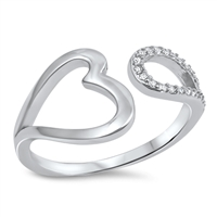 Silver CZ Ring - Open Heart - $5.27