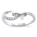 Silver CZ Ring - Bow - $3.64