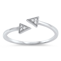 Silver CZ Ring - Triangle - $2.92