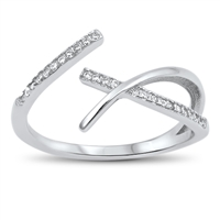 Silver CZ Ring - Criss Cross - $4.64
