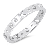 Silver Ring W/ CZ - XOXO Eternity - $4.79