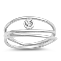 Silver CZ Ring - $4.80