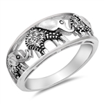 Silver CZ Ring - Elephants - $7.49