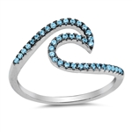Silver CZ Ring - Wave - $7.12