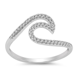 Silver CZ Ring - Wave - $5.29
