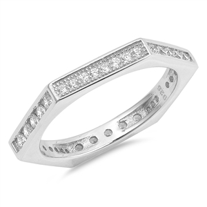 Silver CZ Ring - Dimensional Hexagon - $6.30