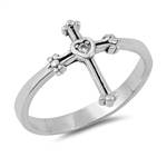 Silver CZ Ring - Cross with Solitaire - $3.34
