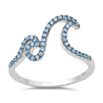 Silver Ring W/ CZ - Double Waves - $7.55