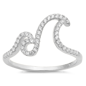 Silver Ring W/ CZ - Double Waves - $5.05