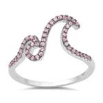 Silver Ring W/ CZ - Double Waves - $6.48