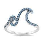 Silver Ring W/ CZ - Double Waves - $6.83