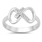 Silver CZ Ring - Cross Infinity - $5.41