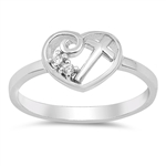 Silver Ring W/ CZ - Cross in Heart - $4.69