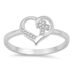 Silver CZ Ring - Cross in Heart - $4.68