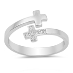 Silver Ring W/ CZ - Double Cross - $5.39