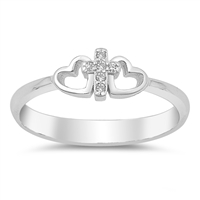Silver Ring W/ CZ - Cross and Hearts - $3.56