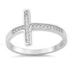 Silver Ring W/ CZ - Cross - $5.31