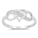 Silver CZ Ring - Heart Infinity - $4.97