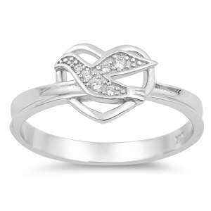 Silver CZ Ring - Dove Heart - $5.20