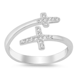 Silver Ring W/ CZ - Double Cross - $4.69