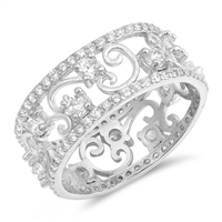 Silver CZ Ring - Vines - $10.24
