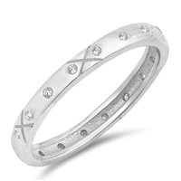 Silver Ring W/ CZ - Decorative Band - $4.88