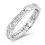 Silver Ring W/ CZ - Hearts - $5.79