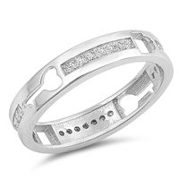 Silver Ring W/ CZ - Lock & Key - $5.55