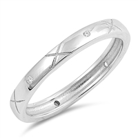 Silver Ring W/ CZ - Decorative Band - $4.41
