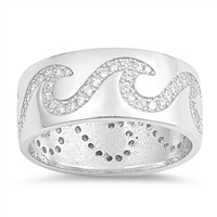 Silver Ring W/ CZ - Waves - $11.20