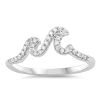 Silver Ring W/ CZ - Waves - $4.37