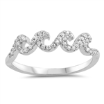 Silver Ring W/ CZ - Waves - $5.87