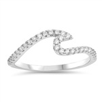 Silver Ring W/ CZ - Wave - $4.98
