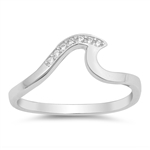 Silver Ring W/ CZ - Wave - $3.70