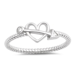 Silver Ring W/ CZ - Bow and Heart - $4.21