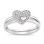 Silver Ring W/ CZ - Heart Puzzle - $8.32
