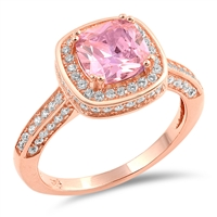 Silver CZ Ring - Rose Gold Plated - $9.07