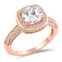 Silver CZ Ring - Rose Gold Plated - $8.84