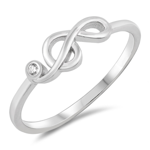 Silver Ring W/ CZ - Musical Note - $3.41