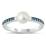 Silver CZ Ring - Pearl - $5.60